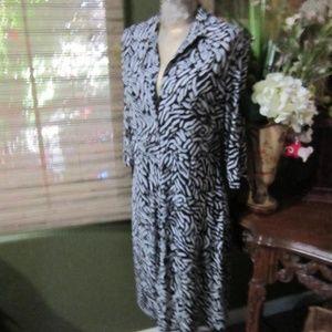 MERONA!>BLACK&WHITE BUTTON DOWN DRESS
